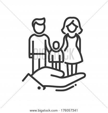 Here is a Family - vector modern line design illustrative icon. A hand holding a family of wife, husband embracing their child