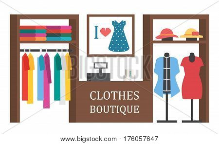 Clothing shop store. Clothes showcase. Vector shopping illustration
