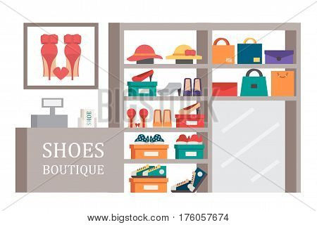 Shoes shop footwear store. Shoe and bag showcase.Vector shopping illustration.