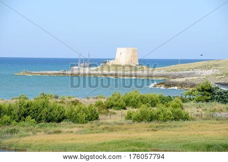 Old Watchtower Near Vieste On Puglia