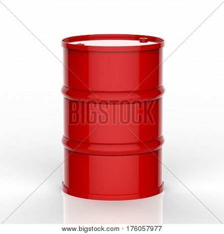 3d rendering red barrel on white background