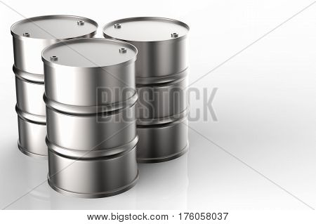 Group Of Metal Oil Barrels