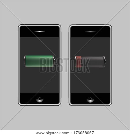 Discharged and fully charged battery smartphone. Battery charge status , set of vector illustration