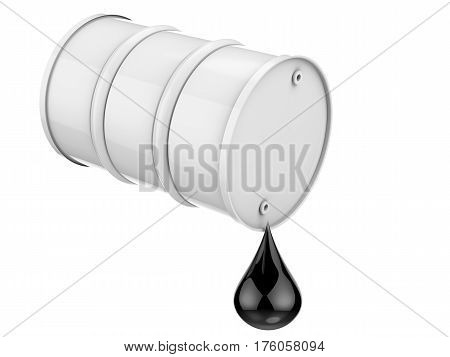 3d rendering droplet of crude oil with white barrel isolated on white