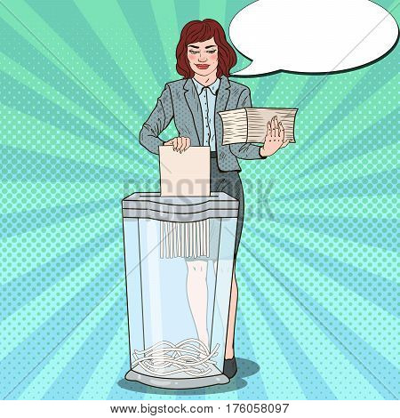 Pop Art Secretary Woman Destroying Paper Documents in Shredder. Vector illustration
