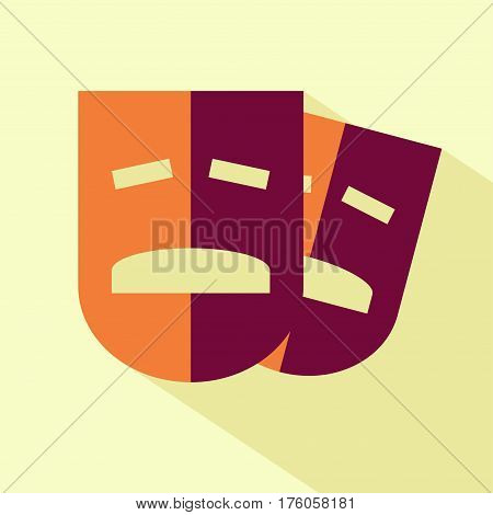 Vector flat drama mask icon. Isolated colored drama icon for logo web site design app UI. Flat mask illustration for posters cards book cover flyers banner web game designs.