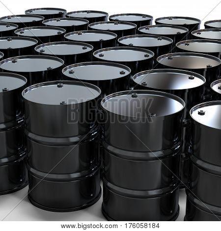 3d rendering group of black barrels on white background