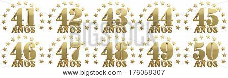 Set of gold numbers and lettering of the year decorated with stars. Translated from the Spanish - years. 3D illustration