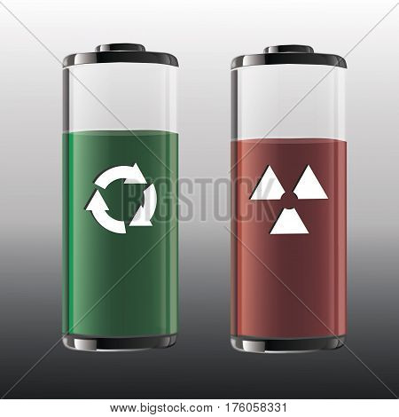 Atomic battery with radiation sign and battery with recycling symbol.