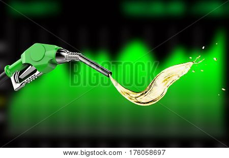 Green Gas Pump Nozzle With Oil Splash