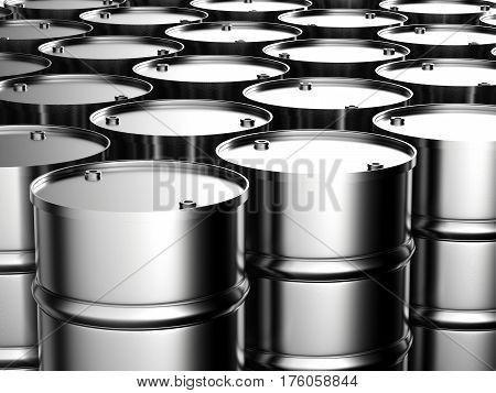 3d rendering metal barrels or metallic barrels