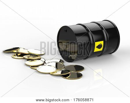 Crude Oil Barrels With Gold Coins