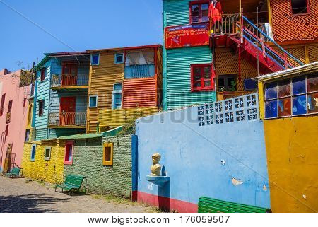 Colorful historic houses in Caminito Buenos Aires Argentina