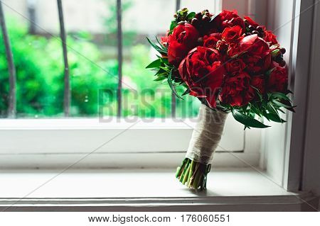 Luxury Bridal Bouquet Made Of Red Roses And Peony