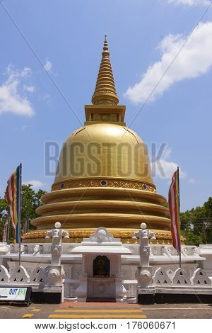 Golden temple of Dambulla Sri Lanka Buddhist dagoba (stupa)