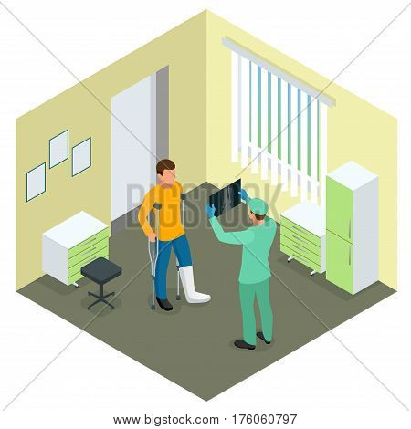 X-rays of leg fracture patients concept. Medical doctor is talking to patient with broken leg and showing him X-ray picture in hospital room. Isometric vector illustration.
