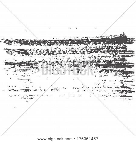Vector illustration of grunge texture. Brushstroke of ink and dirty. Creative abstract design element. Gray splash isolated on white background.