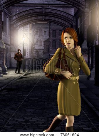 3d illustration of a tense woman walking at night in a dark alley followed by a stalker.
