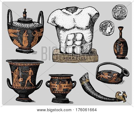 ancient Greece, antique symbols, greek coins, heracles sculpture, anphora vintage, engraved hand drawn in sketch or wood cut style, old looking retro, isolated vector realistic illustration