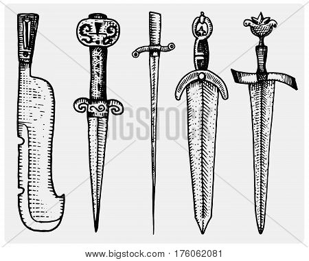 medieval symbols big set of swords, knife and mace vintage, engraved hand drawn in sketch or wood cut style, old looking retro, isolated vector realistic illustration, heraldic