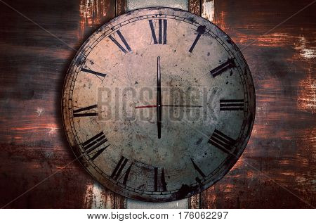 Antique clocks on the wall of old steel and rusty.