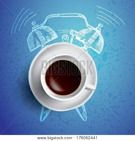 Alarm clock and coffee concept illustration on bright blue background
