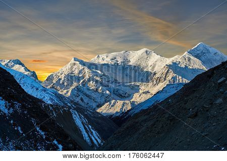 Annapurna Mountains In The Himalayas Of Nepal.