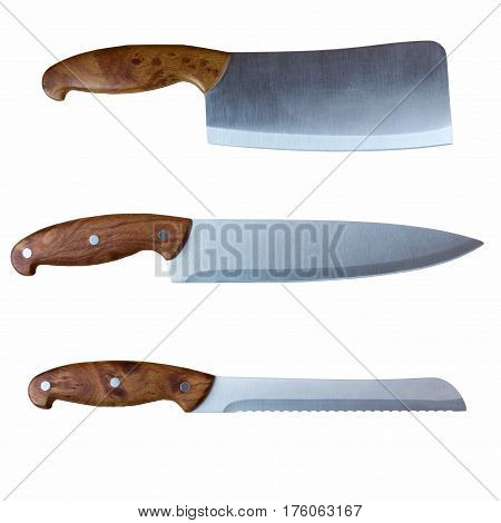 Kitchen ax and two kitchen knives with brown handles close-up on a white background. Flat lay