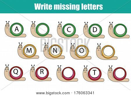 Mathematics educational game for children. Complete the row, write missing letters. Learning english alphabet