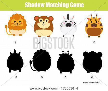 Shadow matching game for children. Find the right, correct shadow task for kids preschool and school age. Animals theme