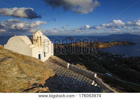 View of the Livadi village and Sifnos island in the distance from Chora, Serifos island in Greece.