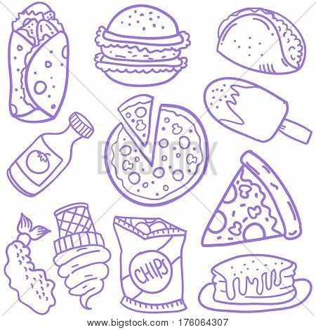 Doodle of food element various cllection stock
