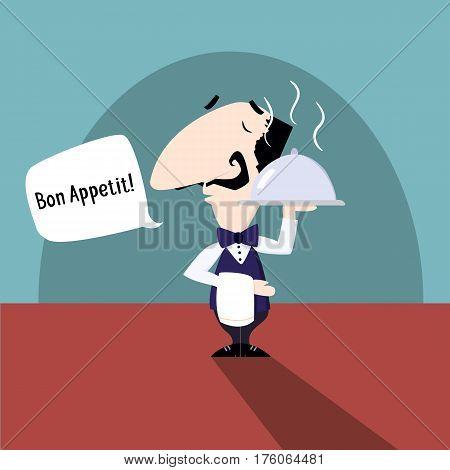 Waiter saying Bon Appetit flat vector illustration fun cartoon style EPS10