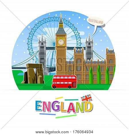 Concept of travel or studying English. English flag with landmarks. Flat design, vector illustration