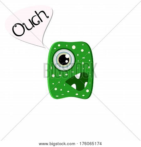 Disgruntled green monster. Funny cartoon character on white background chat word ouch. Emoji isolated for your design needs. Vector illustration