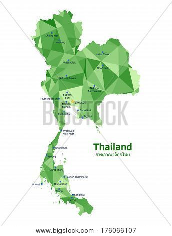 Vector Thailand map and some of its largest and most populated cities