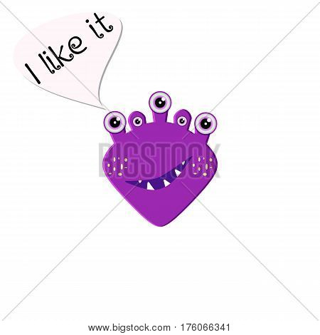 Funny purple monster. Cartoon character on white background. Emoji isolated for your design needs. Vector illustration for your design needs