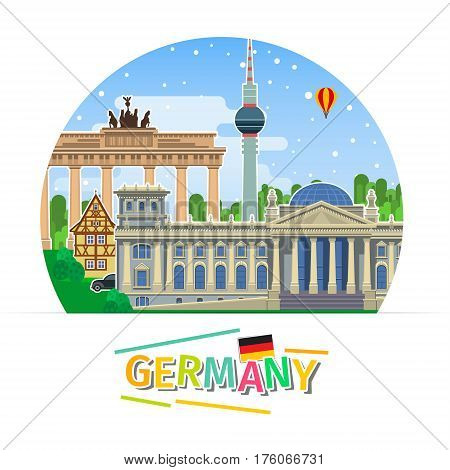 Concept of travel to Germany or studying German. German flag with landmarks. Flat design, vector illustration