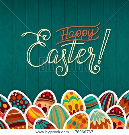 Happy Easter Greeting Card. Dark Green Wooden Background Calligraphy. Congratulations on the Holiday. A lot of Easter eggs