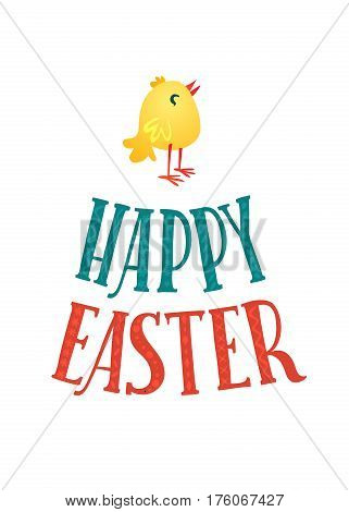 Happy Easter Greeting Card. Lettering and Chicken. Congratulations on the Holiday.