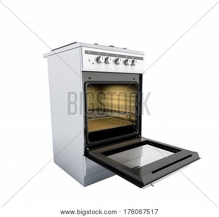 Open Gas Stove 3D Render No Shadow