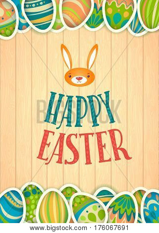 Happy Easter Greeting Card. Wooden Background and Lettering. Congratulations on the Holiday. A lot of Easter eggs.