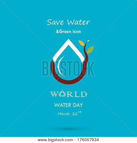 Water drop with small tree icon vector logo design template.World Water Day icon.World Water Day idea campaign for greeting card and poster.Vector illustration