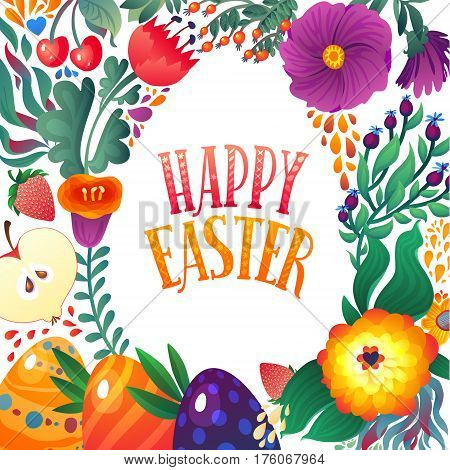 Happy Easter Greeting Card. Festive Floral and Berry banner background. Decorative Happy Holiday Illustration for print, web.