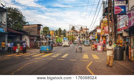 Aluthgama, Sri Lanka - December 28th 2015: Busy Street in Aluthgama near Beruwala on the West Coast of Sri Lanka.