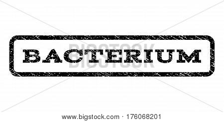 Bacterium watermark stamp. Text tag inside rounded rectangle frame with grunge design style. Rubber seal stamp with scratched texture. Vector black ink imprint on a white background.