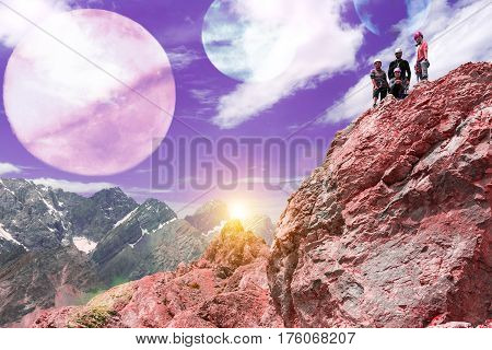 Surrealistic Alien Planet Mountain View and Group of People rock Climbers on top of red Mountain raising Hands