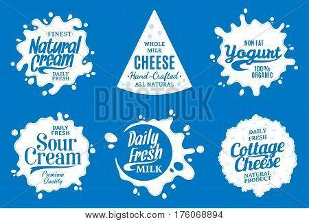 Milk Product Logo. Milk, Yogurt Or Cream Splashes