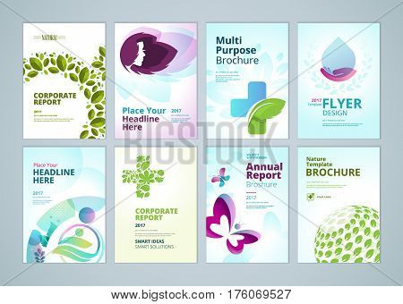 Healthcare and natural products brochure cover design and flyer layout templates collection. Vector illustrations for marketing material, ads and magazine, products presentation templates.