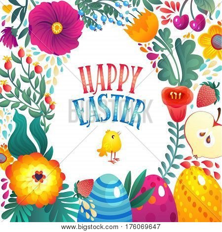 Happy Easter Greeting Card. Little Chicken and Eggs. Festive Floral and Berry banner background. Decorative Happy Holiday Illustration for print, web.